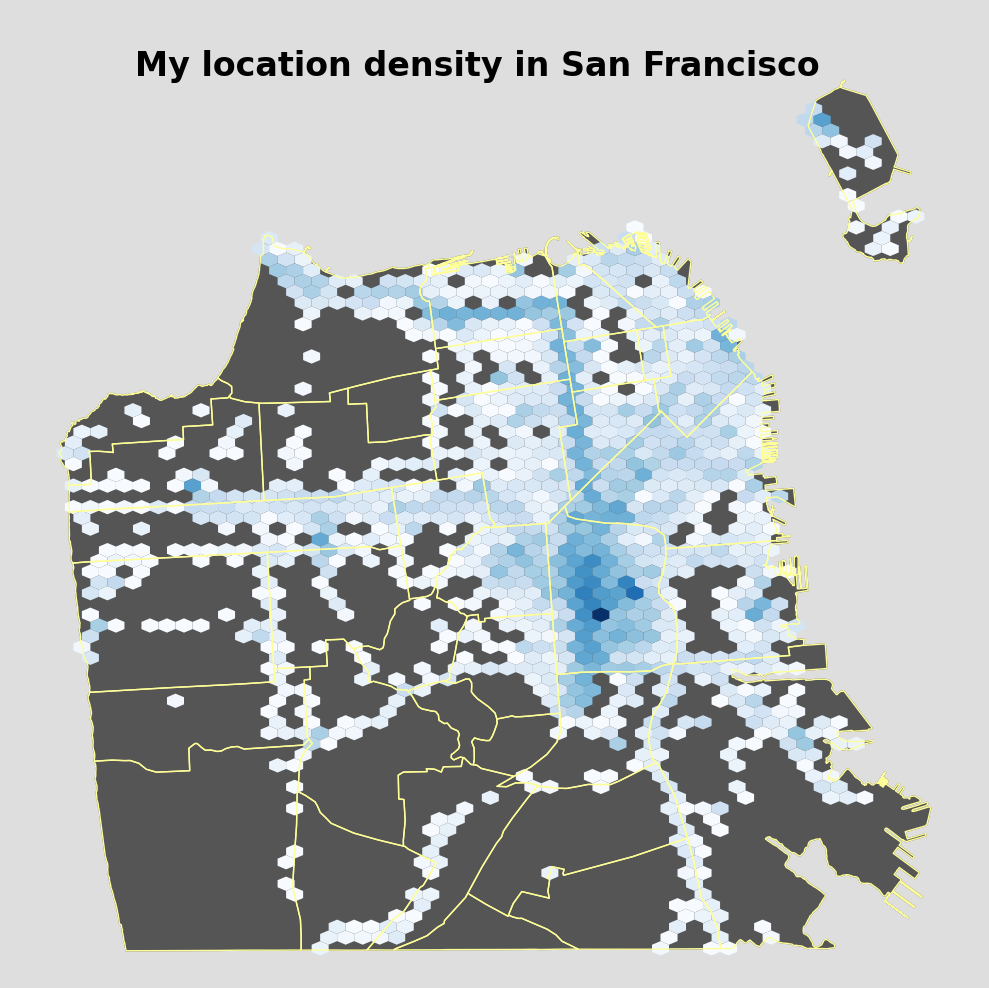 My location density for San Francisco between 9/20/2013 and 5/22/2016